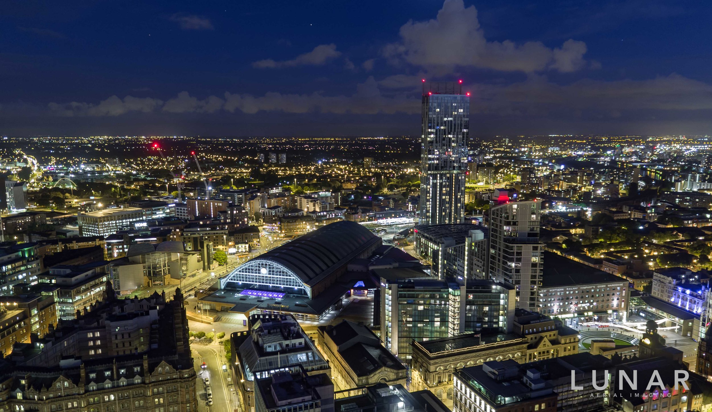 aerial night view of Manchester city centre