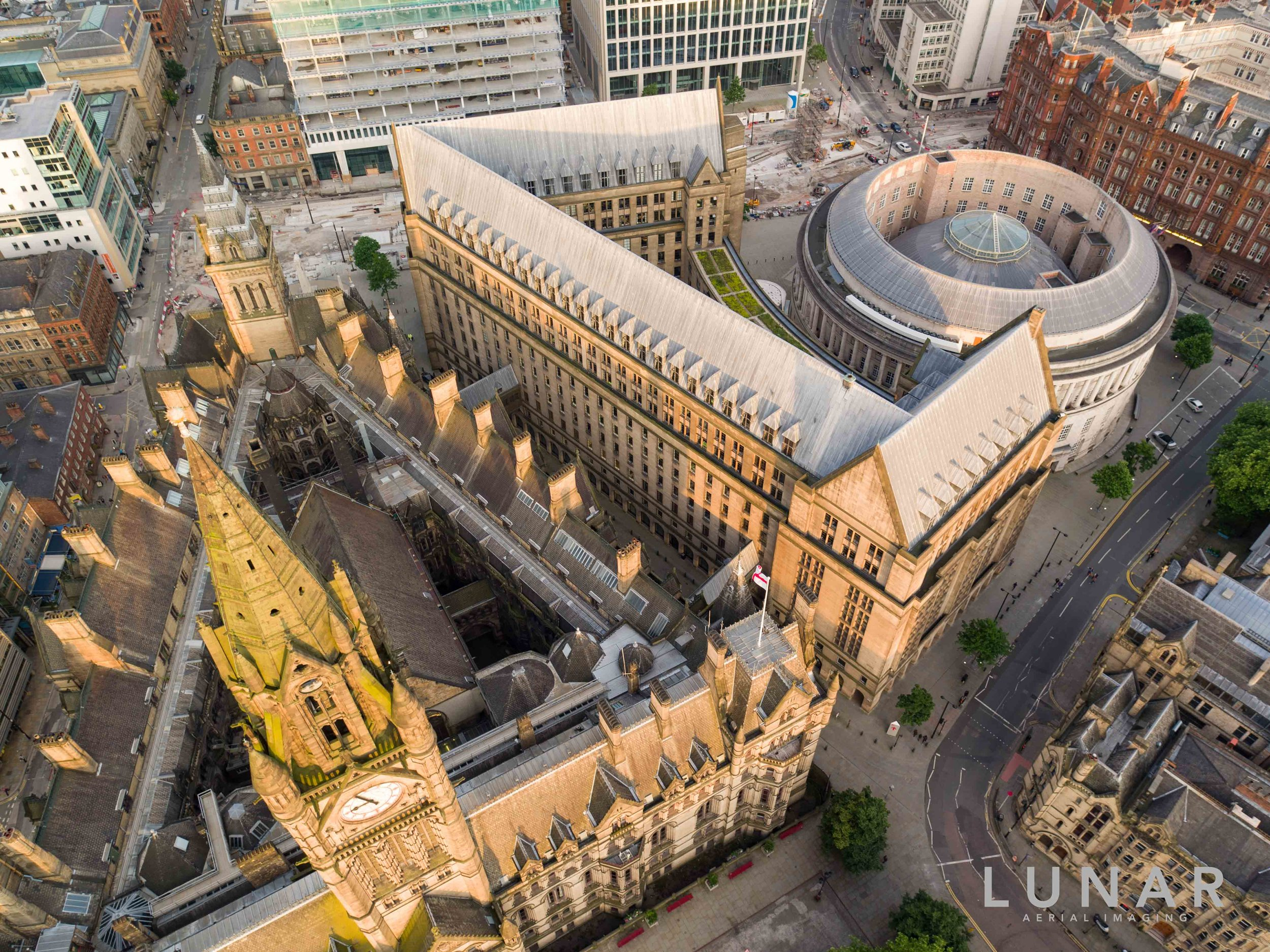 Looking down on Manchester Town Hall and Manchester Library