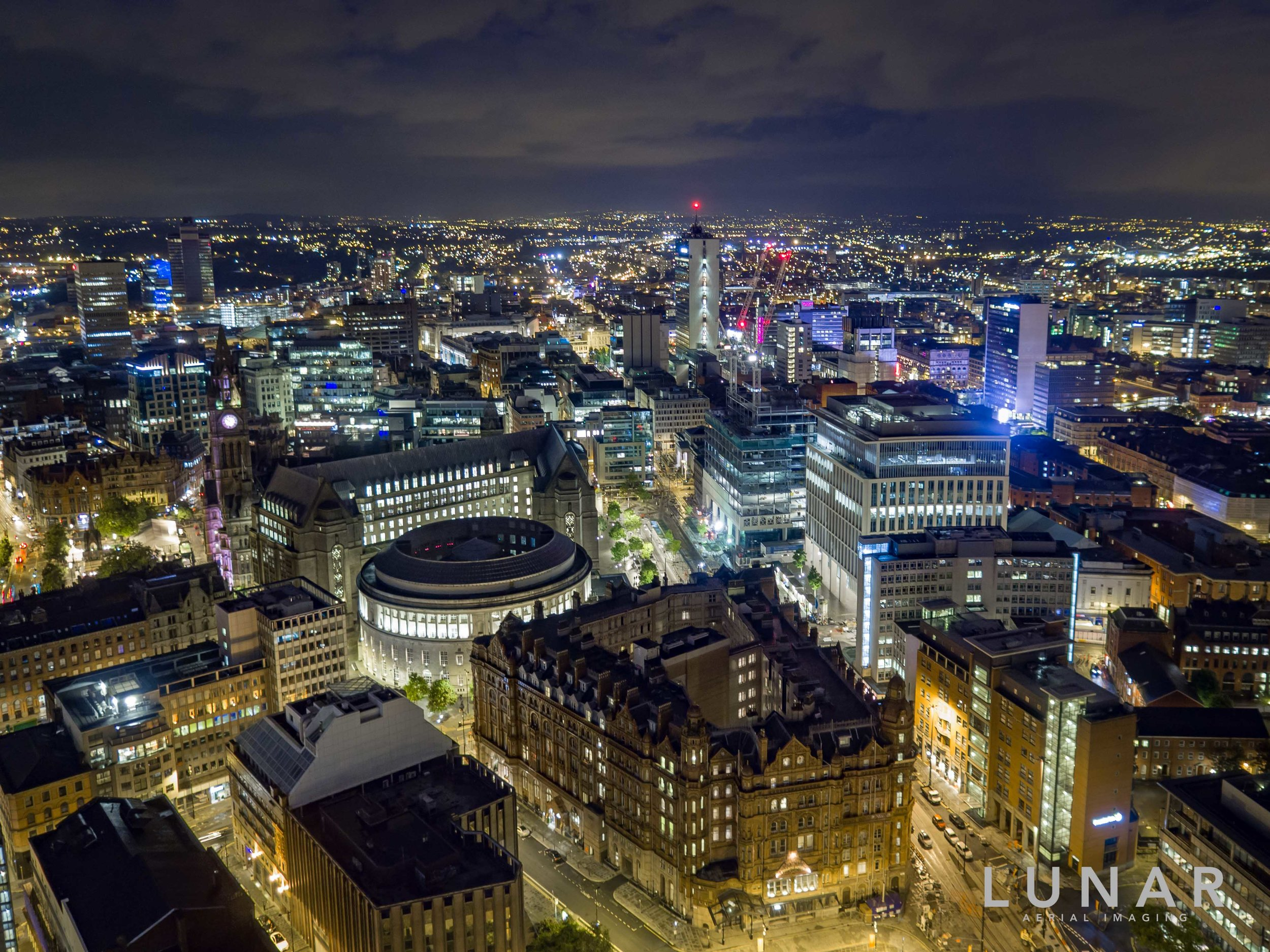 night aerial cityscape of Manchester Central