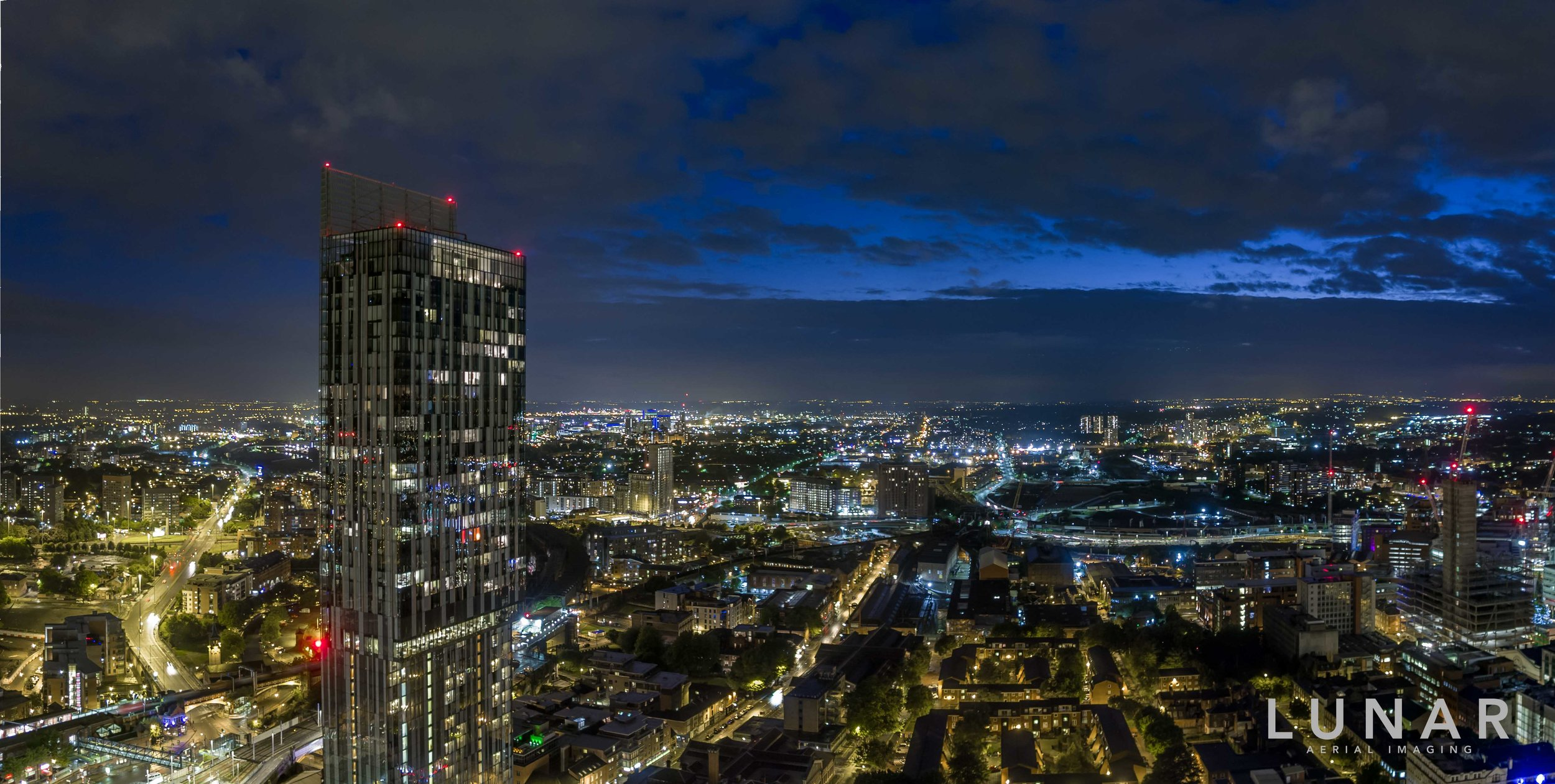 Night aerial cityscape of Manchester city centre