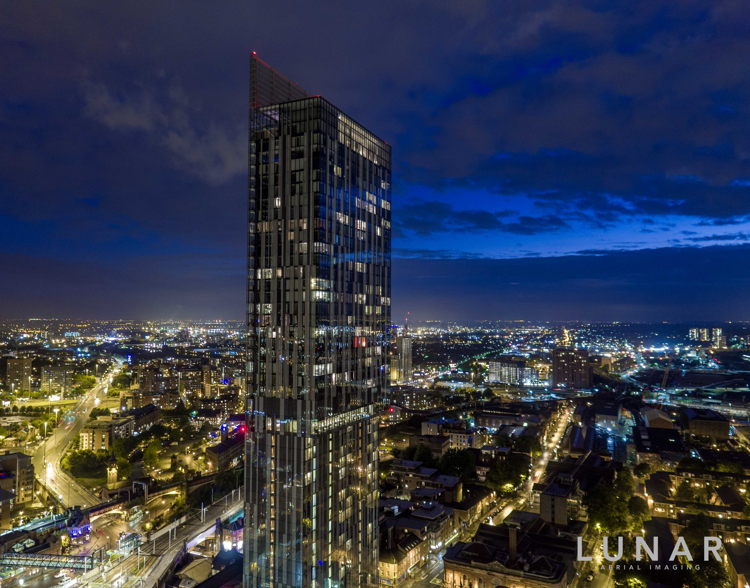 Aerial view of Manchester City centre at night