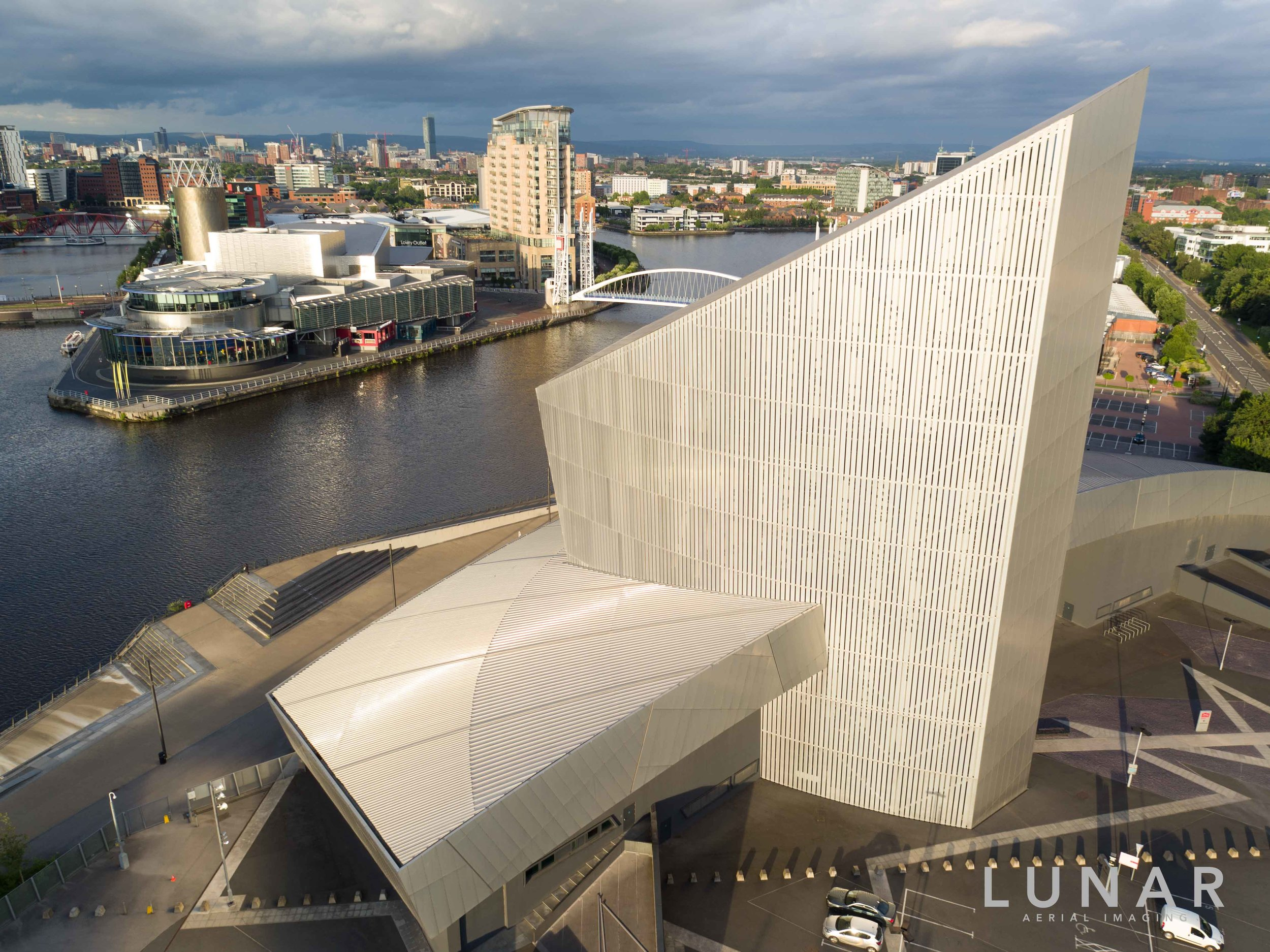 Aerial view of Lowry and Imperial War Museum Salford, Media City