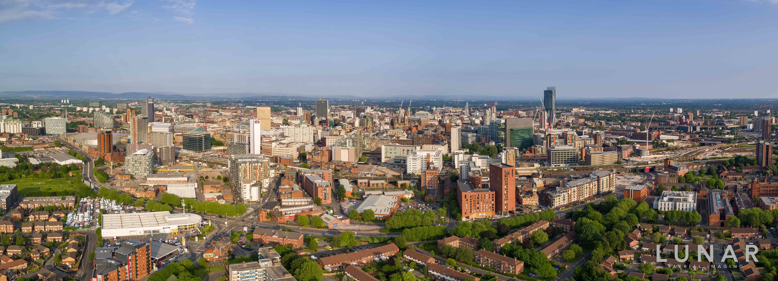 Panoramic aerial view of Manchester