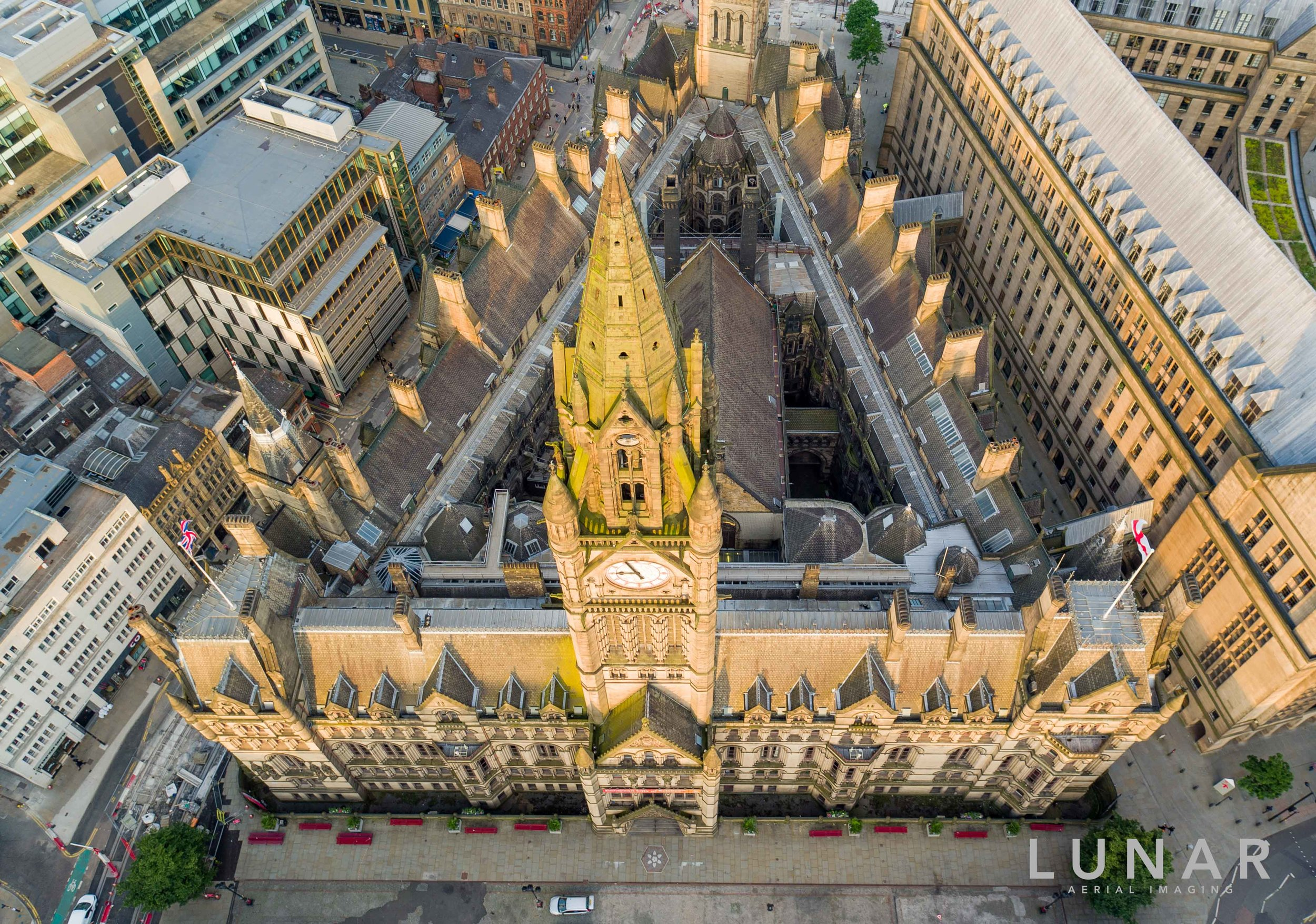 Looking down on to Manchester Town Hall