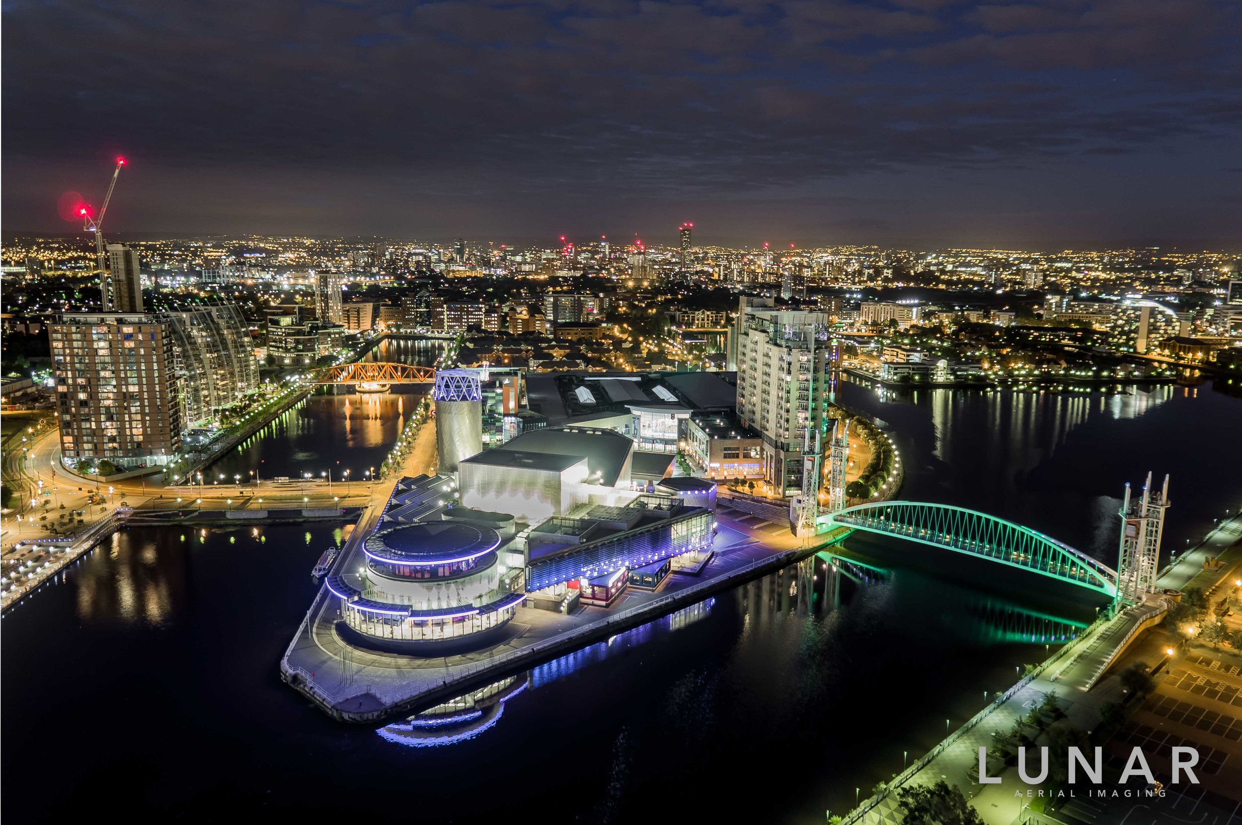 Aerial photo Salford Quays at night