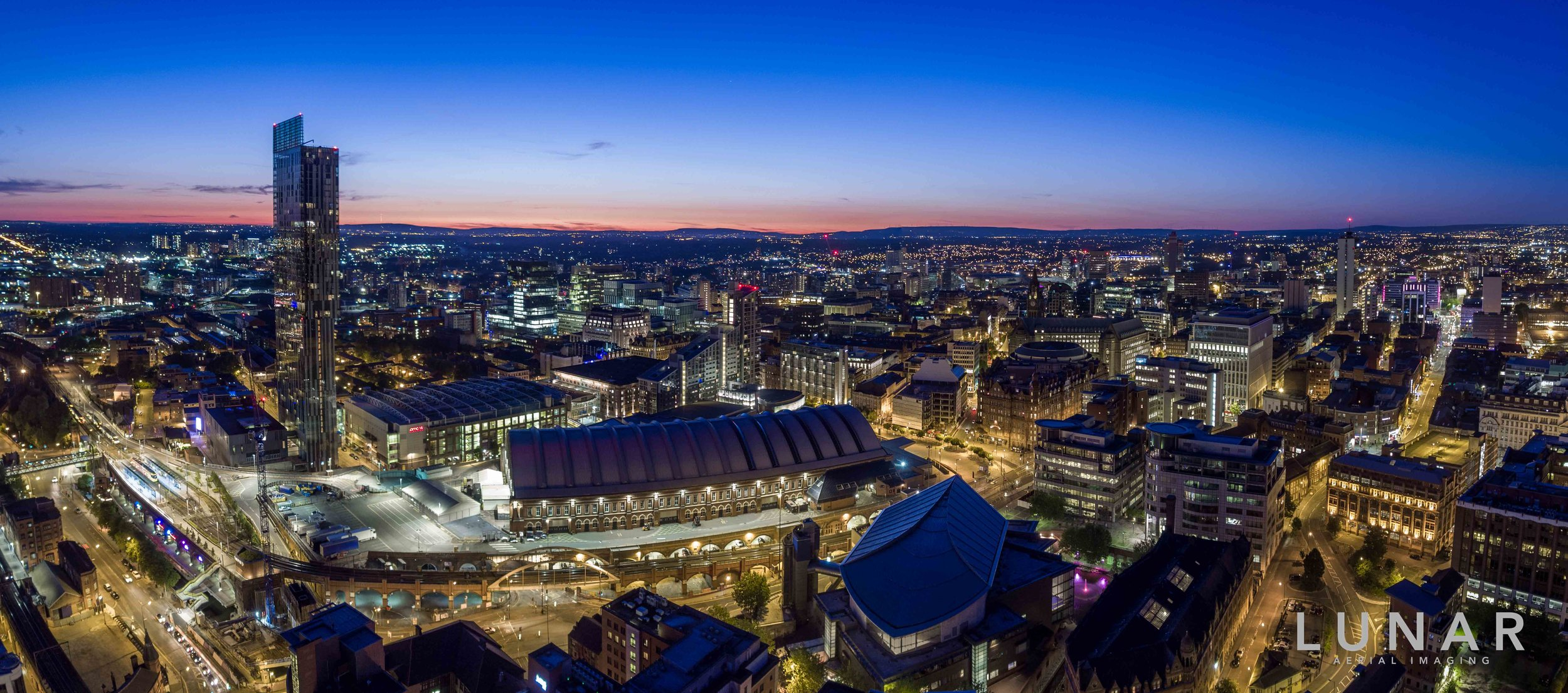 Manchester drone aerial photography at dusk beetham tower, bridgewater hall, manchester central, sunset.jpg