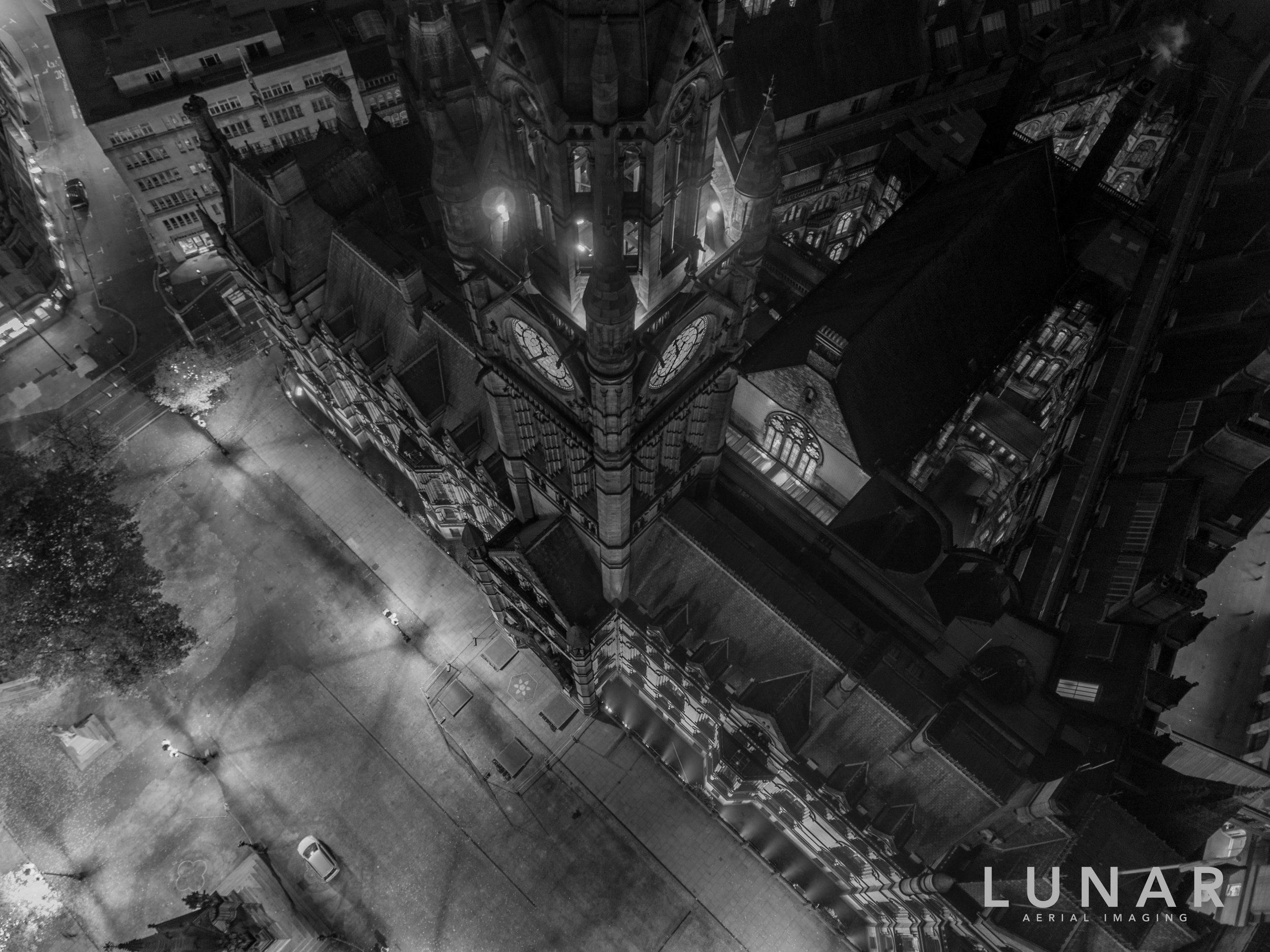 Manchester town hall and albert square at night aerial view.jpg