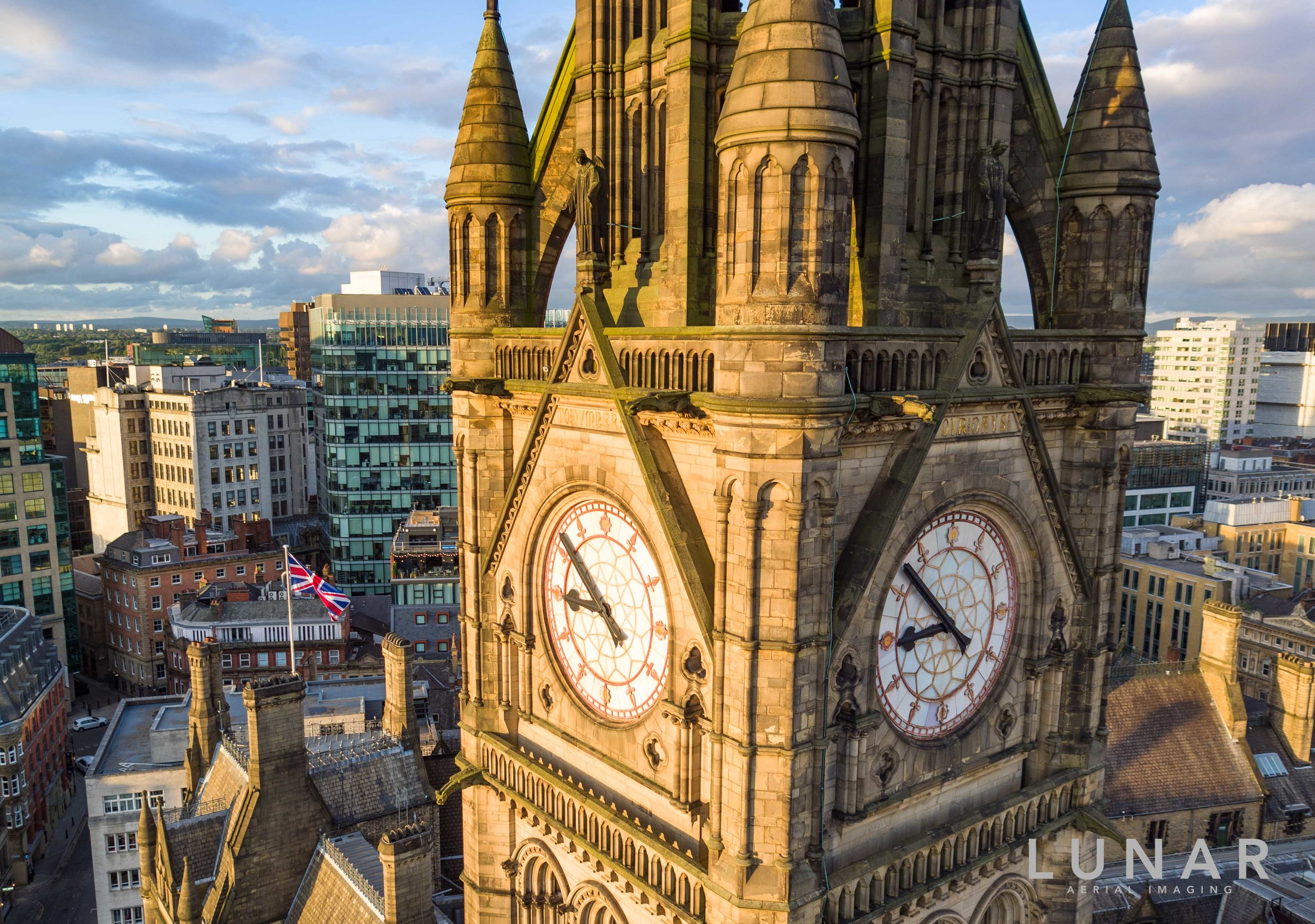 Manchester Town Hall Clock with UK flag.jpg