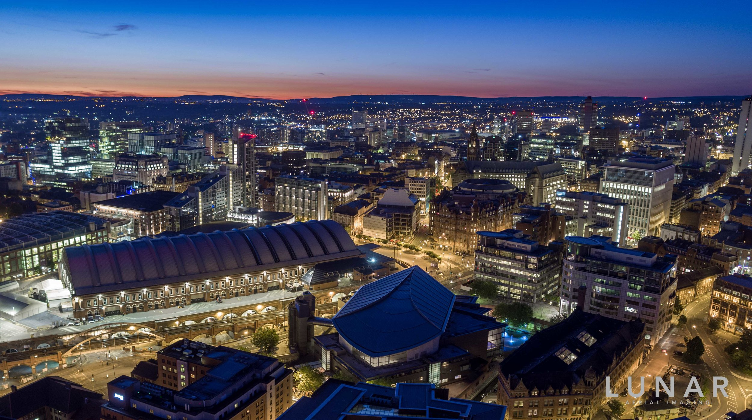 Drone photography at sunset of Manchester
