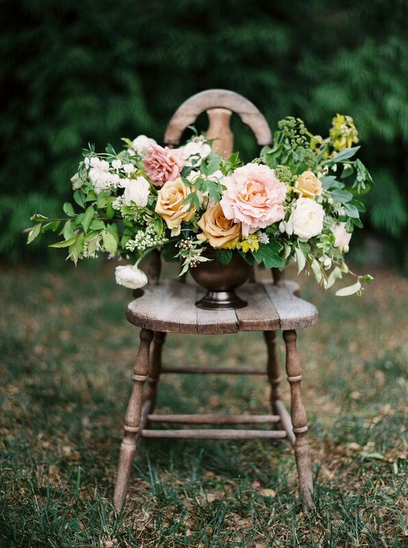 pastel wedding centerpiece by foraged floral