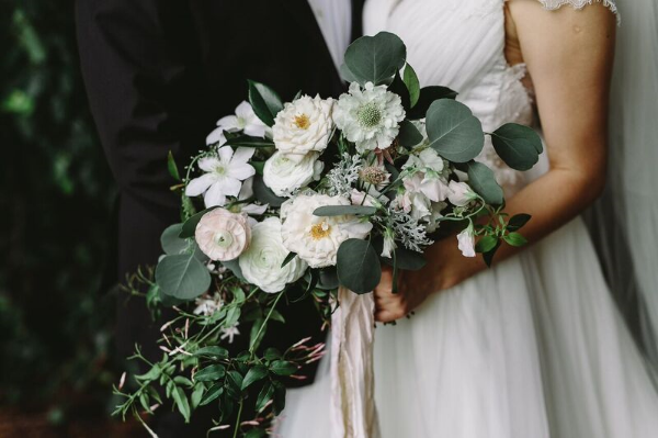 cascading blush and white bridal  bouquet by Foraged Floral in Portland, OR