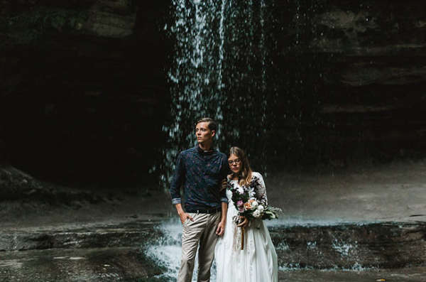 waterfall elopement wedding flowers by foraged floral in Portland, OR