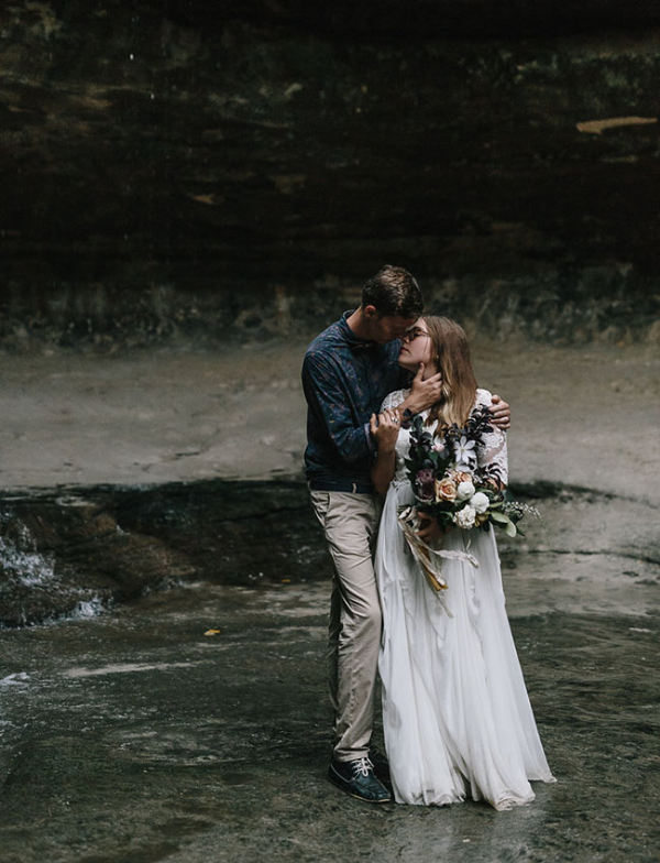 Waterfall Elopement Wedding Bouquet by Foraged Floral