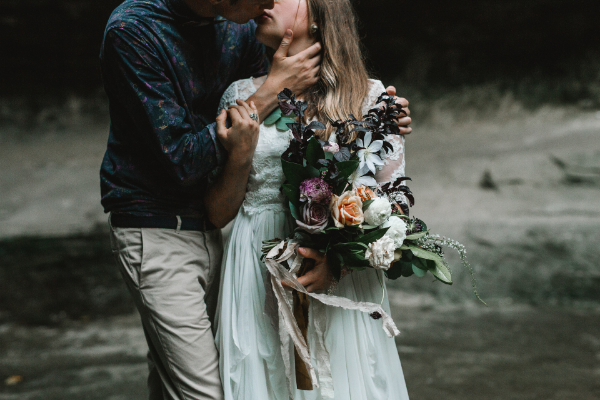 Fall bridal bouquet for elopement by Foraged Floral