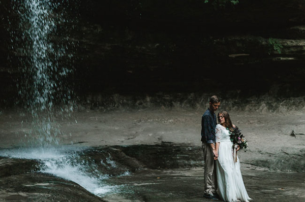 Waterfall Elopement Wedding Flowers by Foraged Floral