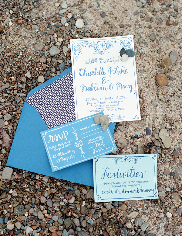 blue water color and calligraphy wedding invitations