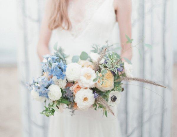 Blue and peach beach wedding flowers by Foraged Floral in Portland, OR