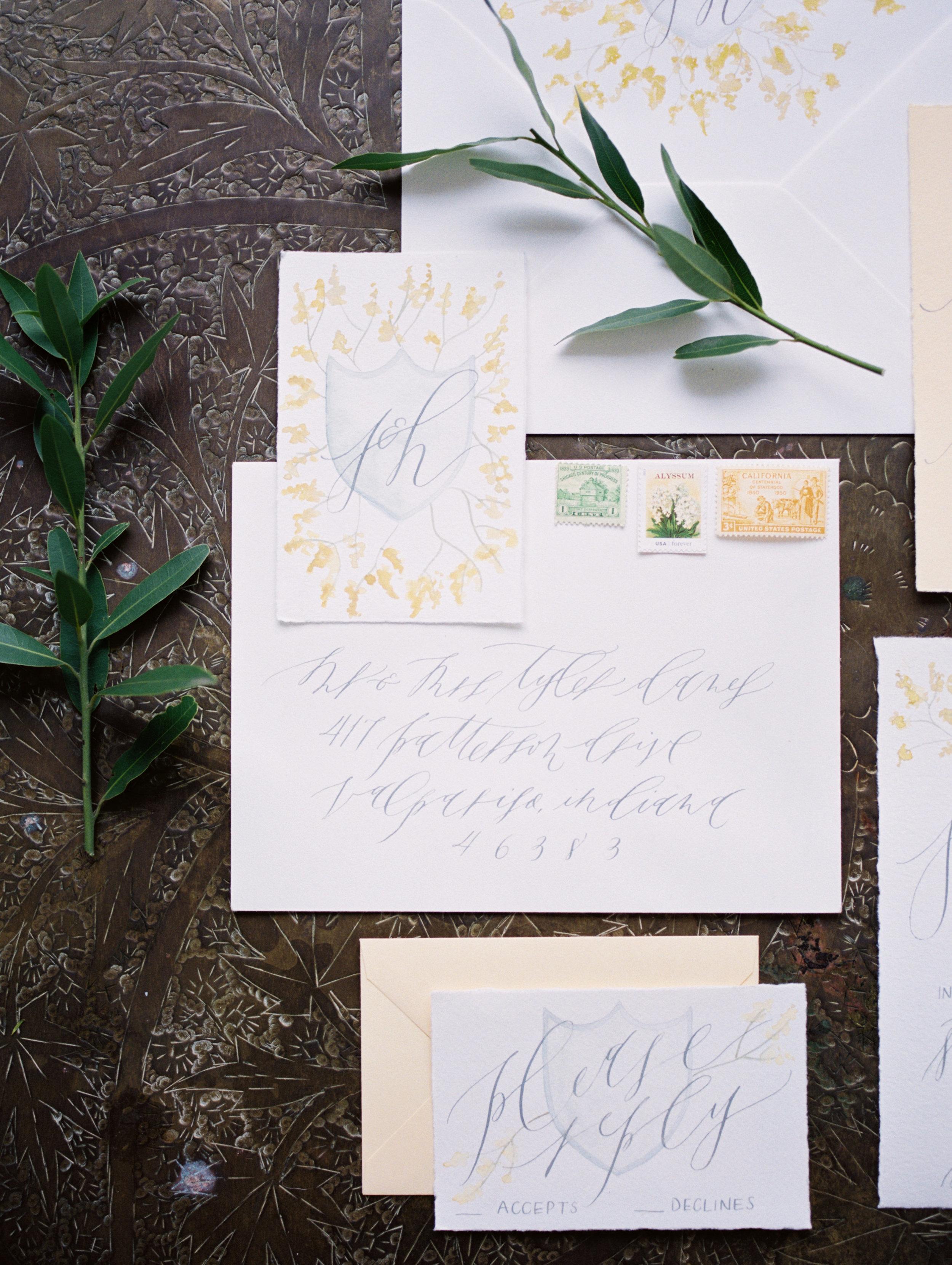 yellow and white calligraphy wedding invitations.jpg