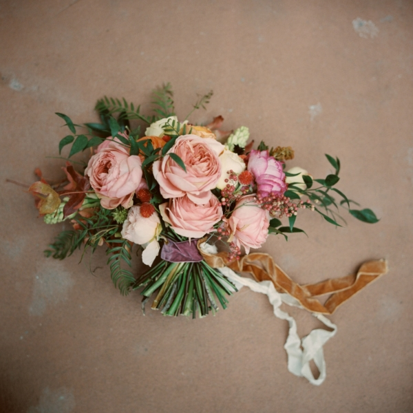 pink and peach bridal bouquet by Foraged Floral, Oregon