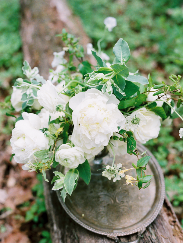 simple wedding floral centerpiece in white and green by Foraged Floral in Portland, OR