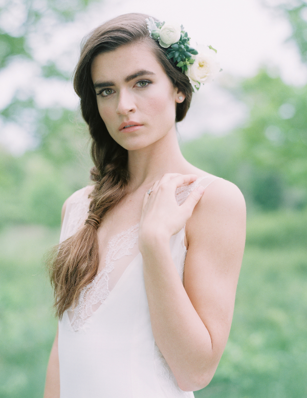 white and green wedding fresh floral hair accessory by Foraged Floral in Portland, OR