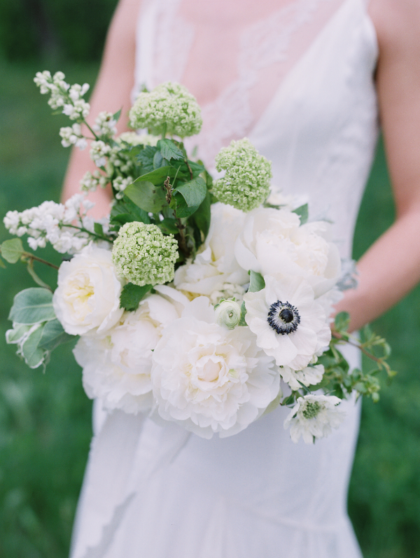 spring wedding bouquet in white and green by Foraged Floral in Portland, Oregon