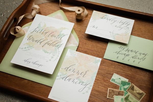 modern calligraphy wedding invitation by Graceline Art