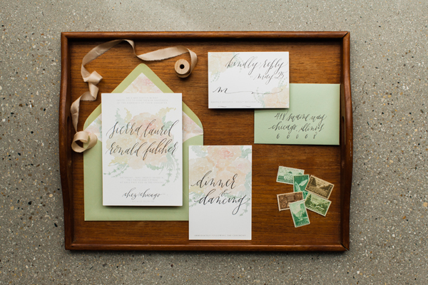 calligraphy wedding invitation by Graceline Art