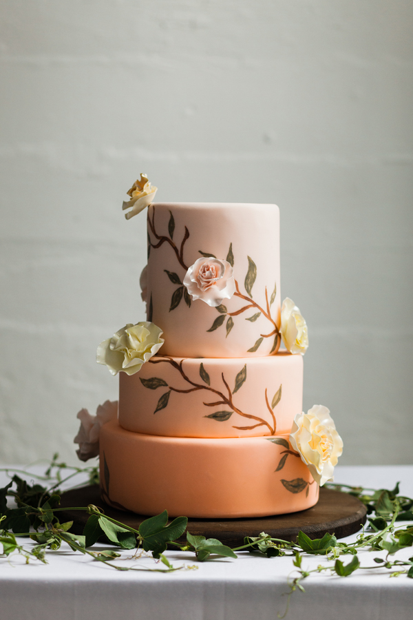 ombre peach floral wedding cake