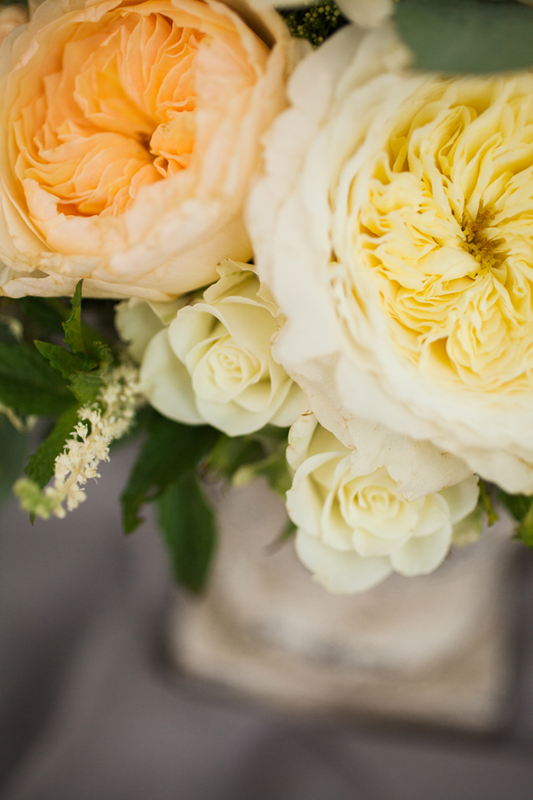 peach and yellow wedding flowers in floral centerpiece by Foraged Floral in Portland, Oregon