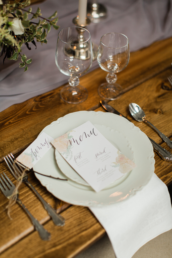 wedding table place setting at Chez Chicago with  calligraphy menu