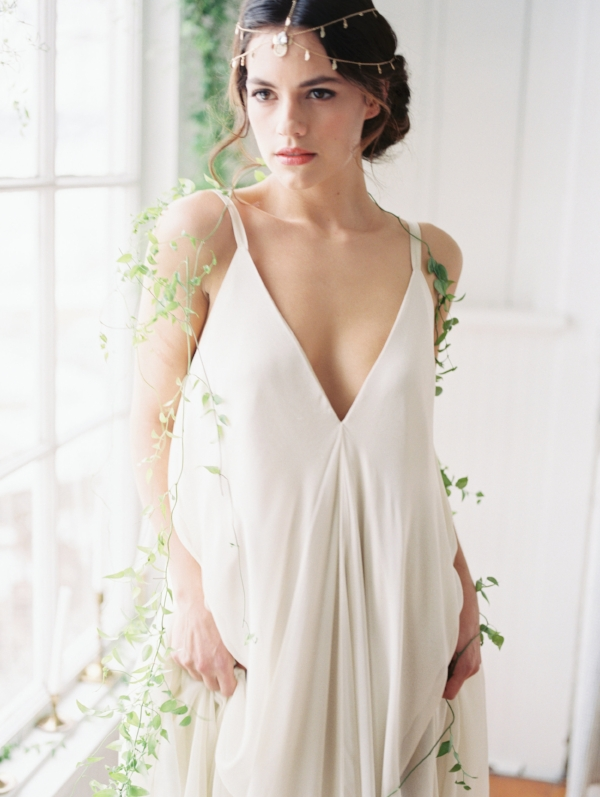 carol hannah bridal gown with greenery accents