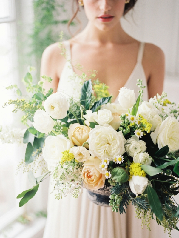 Yellow, white and green wedding centerpiece by Foraged Floral in Portland, OR