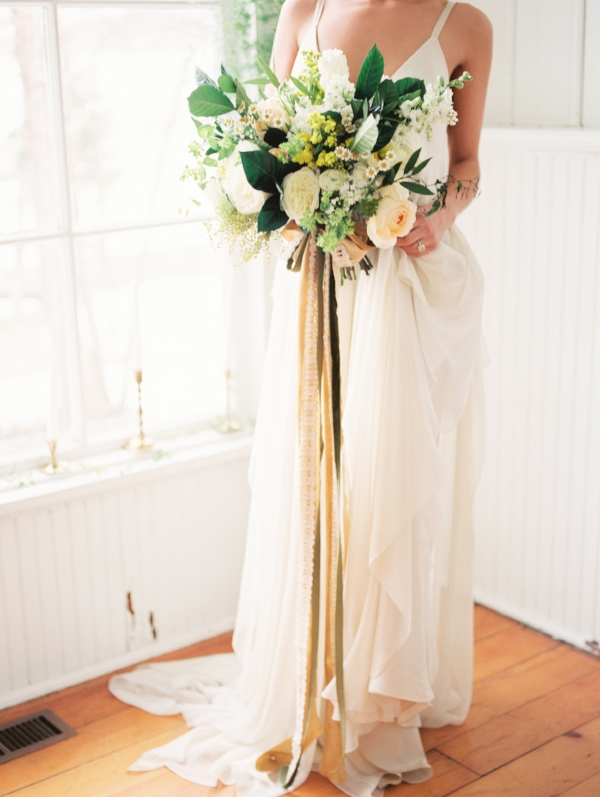 Yellow, white and green wedding bouquet by Foraged Floral in Portland, OR, with silk and willow ribbon