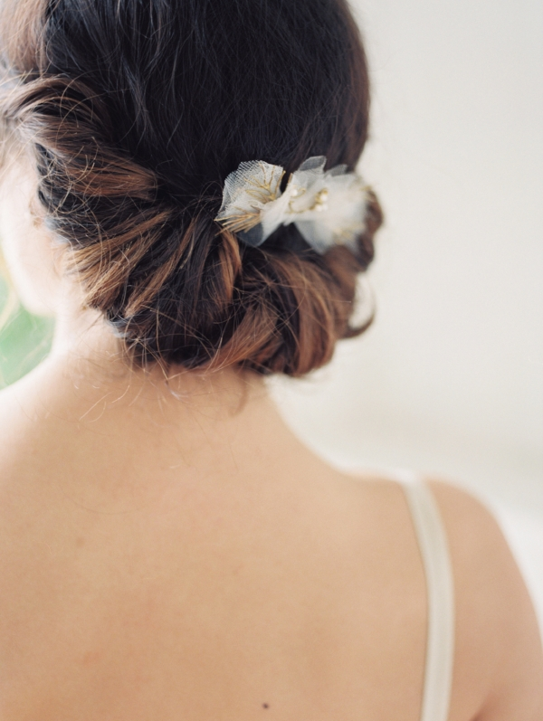 wedding chignon hair idea for bride