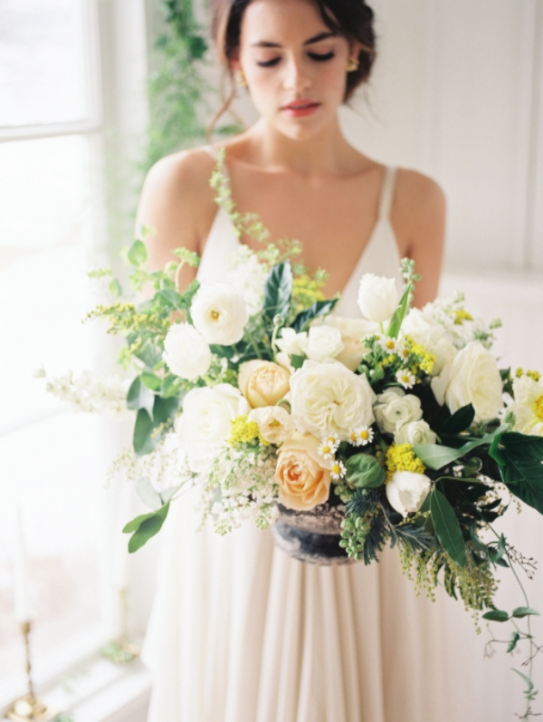 Yellow, white and green wedding flower centerpiece by Foraged Floral in Portland, OR