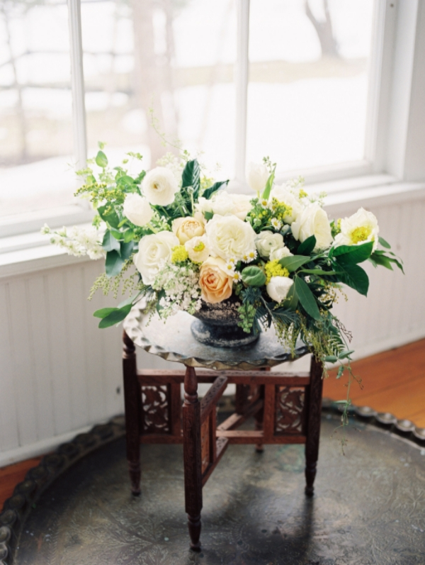 Yellow, white and green winter wedding flowers by Foraged Floral in Portland, OR
