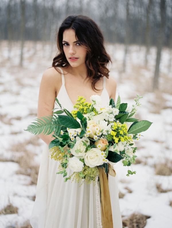 Yellow, white and green bridal bouquet by Foraged Floral in Portland, OR