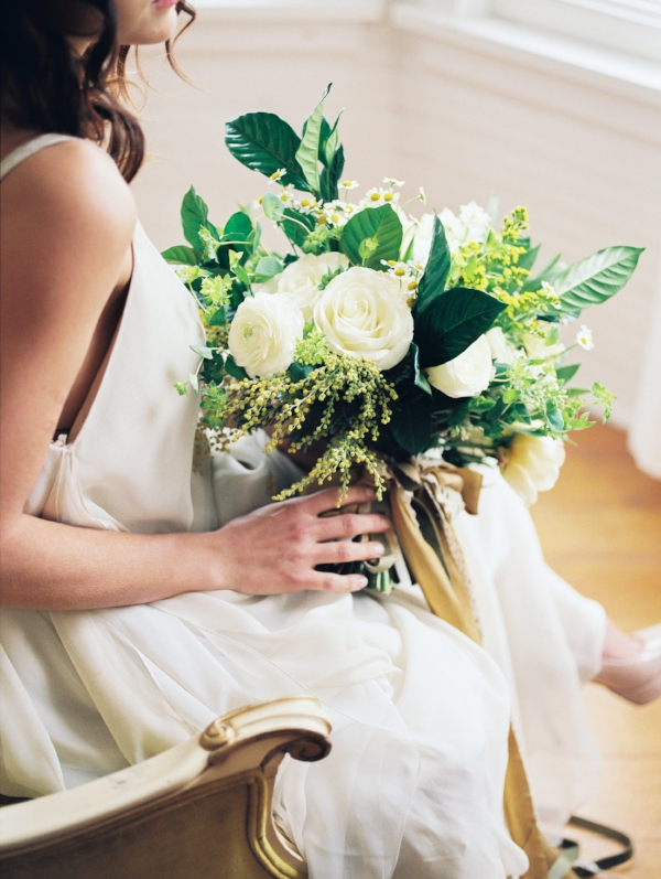 Yellow, white and green brides bouquet by Foraged Floral in Portland, OR