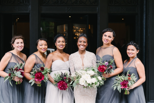 bridesmaid gowns in grey