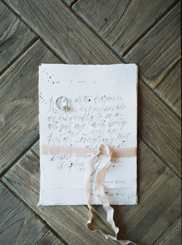 handlettered calligraphy wedding vows on handmade paper