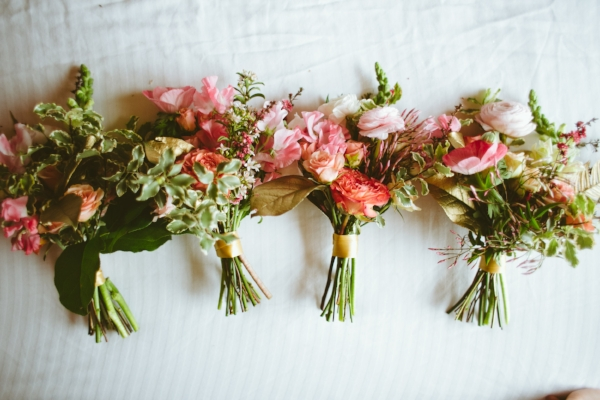 coral, pink, blush and gold wedding flowers in Portland, Oregon by Foraged Floral