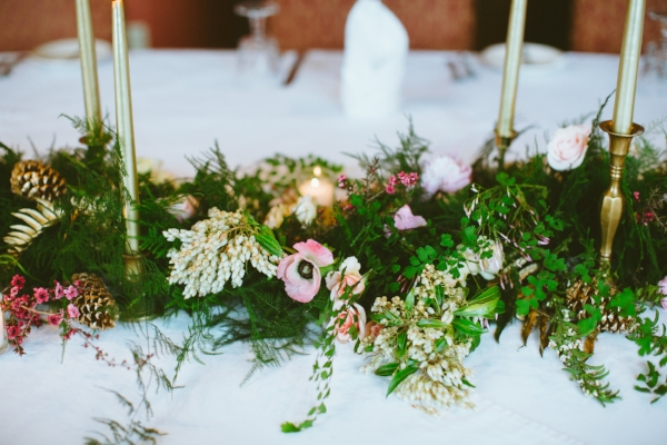 wedding table garland with coral, pink, blush and gold wedding flowers in Portland, Oregon by Foraged Floral