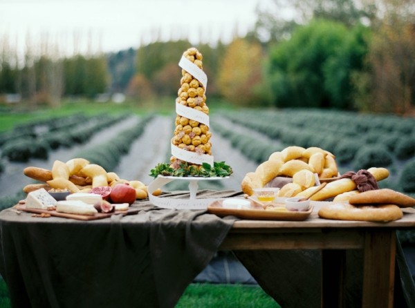 french inspired dessert table with croquembouche