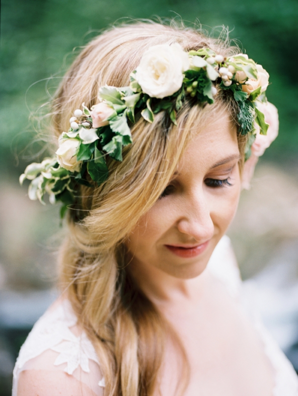 Flower crown for bride at wedding elopement with pink, peach and white flowers by Foraged Floral in Portland, OR