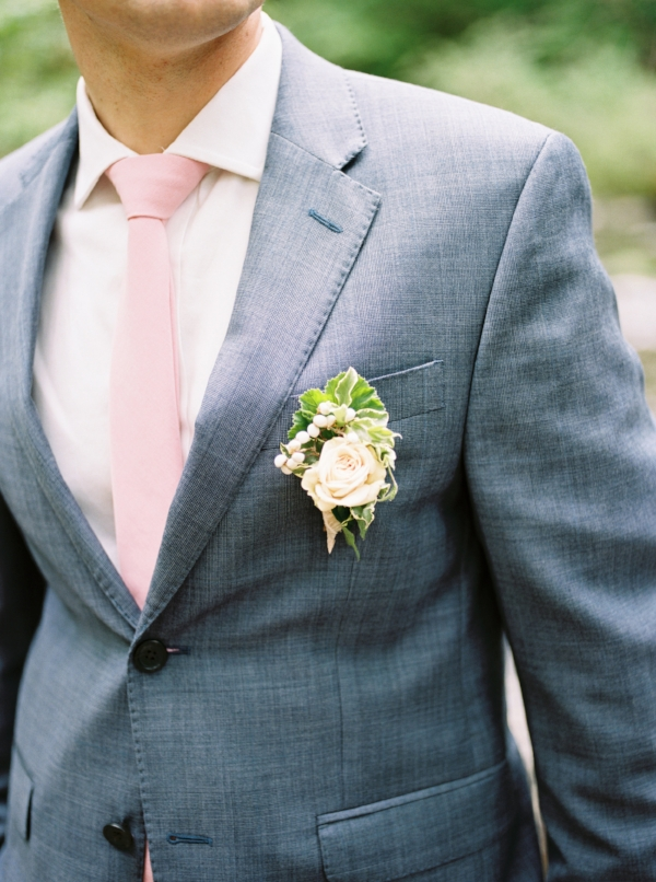 Pink rose boutonniere for groom by Foraged Floral in Oregon
