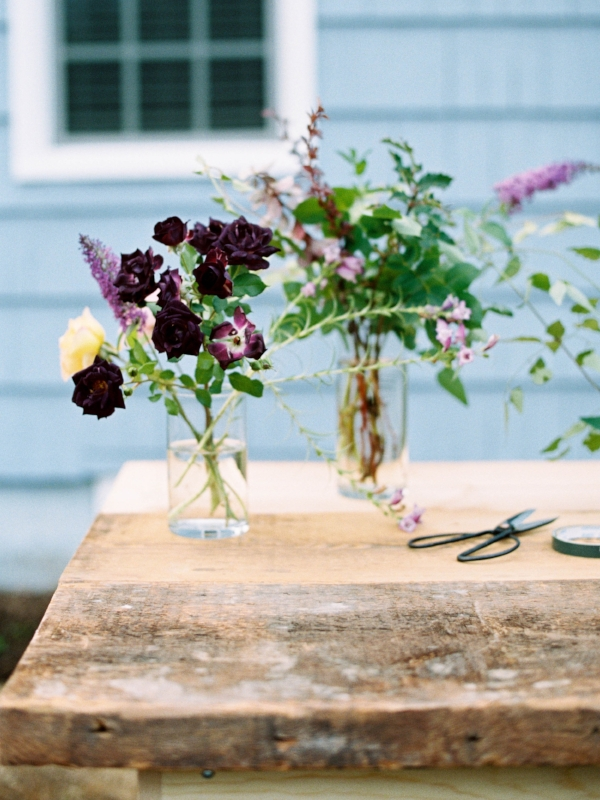 DIY foraged floral wedding bouquet in Portland, Oregon by Foraged Floral using dahlias, roses and mixed greenery in pink, peach, and purple flowers
