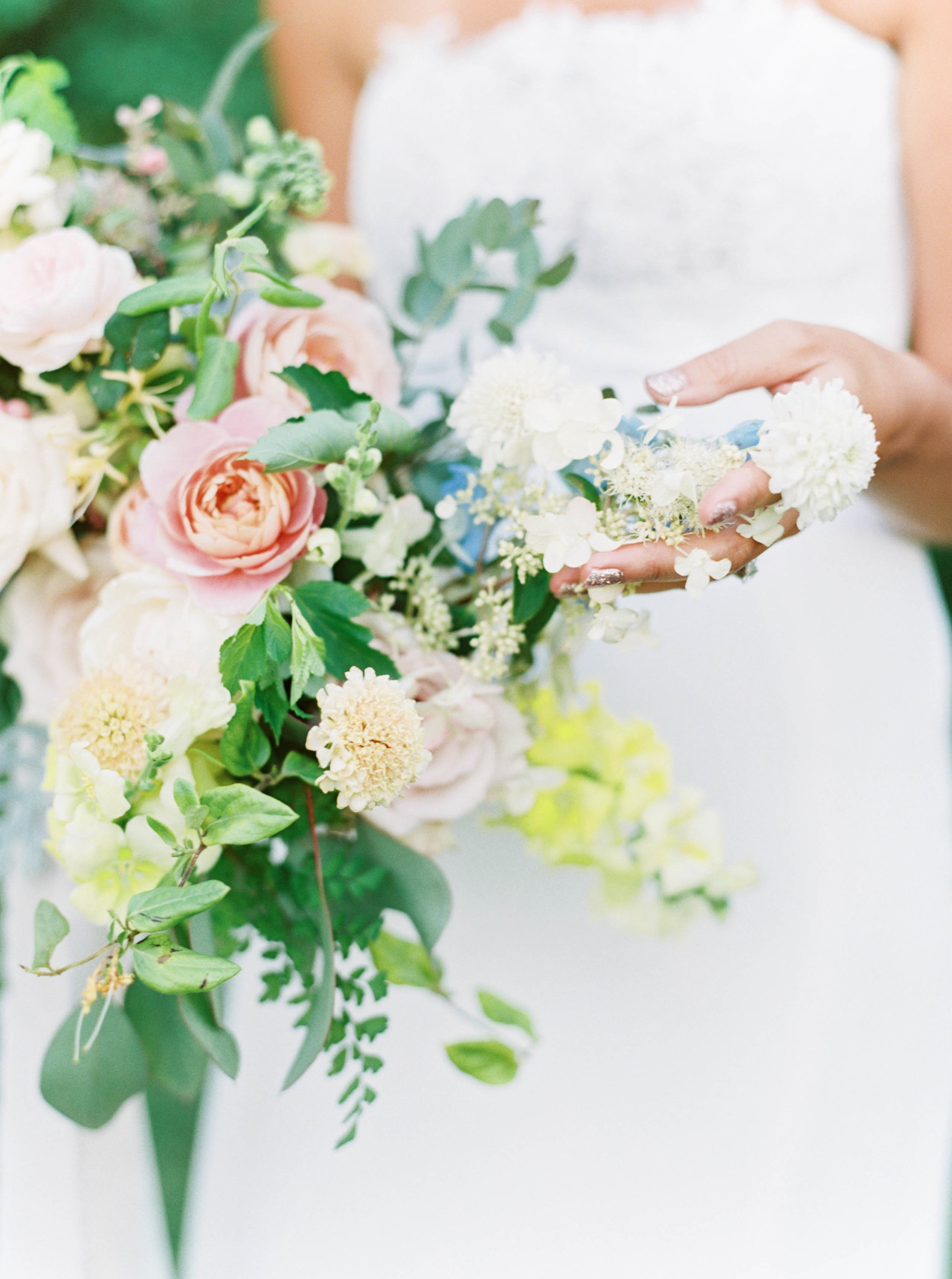 pink, peach and blue wedding bouquet with roses, dahlias and summer flowers by foraged floral in oregon.jpg