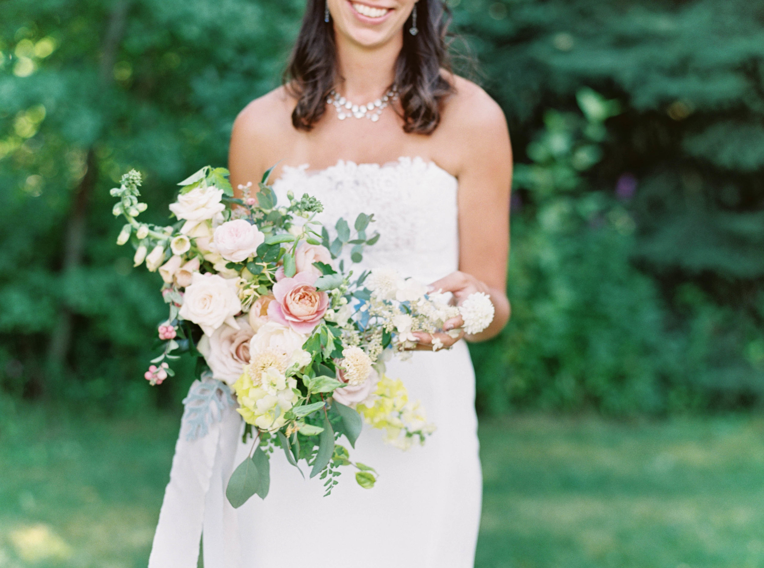 pink, blue, white and peach bridal bouquet by foraged floral at mt hood organic farms summer wedding.jpg