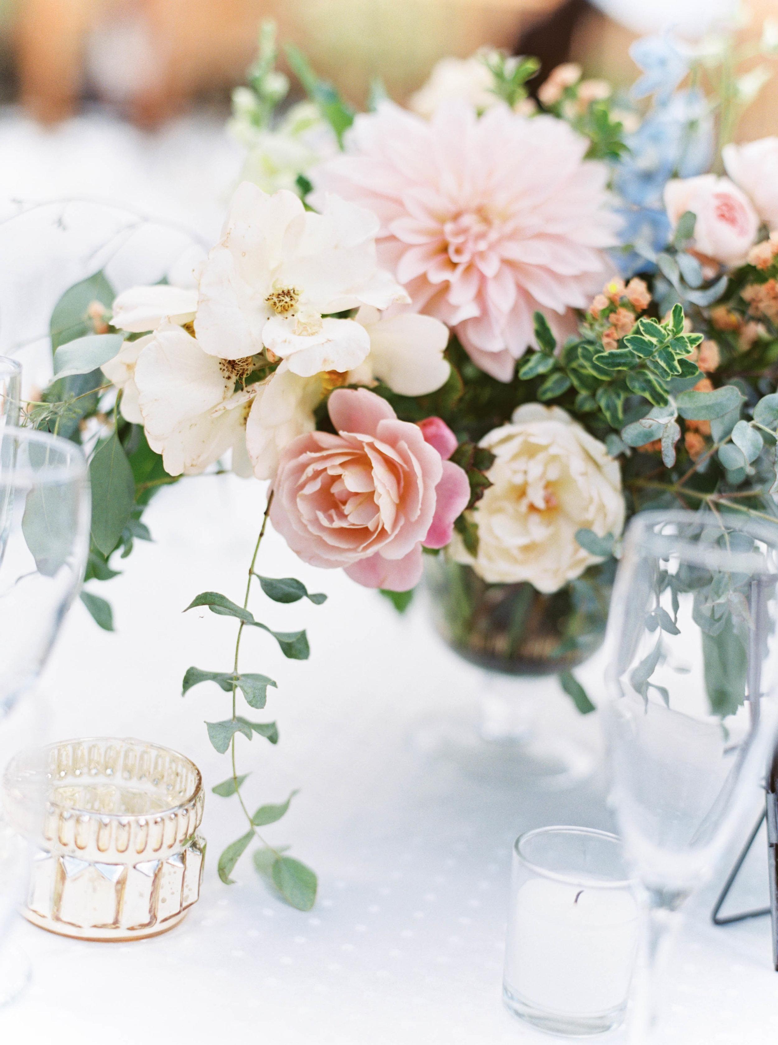 wedding floral centerpiece with cafe au lait dahlia by foraged floral for oregon wedding.jpg